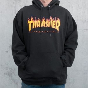 thrasher-flame-hooded-sweater-black drop in surfshop
